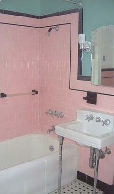 Original 1930s bathroom - pink tiles are classic colour