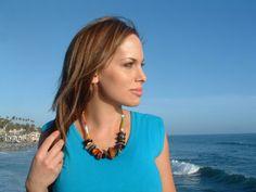 Ecofriendly necklace multi color Tagua nut by OrganicjewelrybyAlli, $35.00