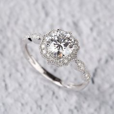 Start your happily ever after on a sweet note with this unique white and yellow gold engagement ring set from Camellia Jewelry. Scrupulously handmade in fine detail, it is an exquisite moissanite ring set ring that will show her how much you care with Vintage Style Engagement Rings, Dream Engagement Rings, Engagement Ring Settings, Wedding Rings Vintage, Engagement Ring Styles, Halo Diamond Engagement Ring, Halo Wedding Rings, Moissanite Engagement Rings, Engagement Rings White Gold