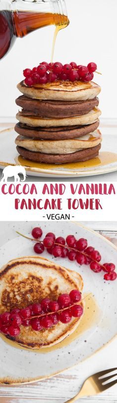 Vegan Cocoa and Vanilla Pancake Tower via @elephantasticv