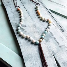 Faceted Amazonite Necklace with Long Fringe Tassel 227A