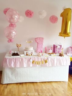 The first birthday of my baby #miffyparty El primer cumpleaños de mi bebé #Eileenesguay Mickey Birthday, Gold Birthday, Girl First Birthday, Princess Birthday, Baby Birthday, Princess Party, 1st Birthday Parties, Pink Christmas Decorations, Birthday Decorations