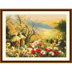 Cross stitch kit - Garden with beehives Cross Stitch Flowers, Cross Stitch Patterns, Stitch Kit, Country Life, Landscape, Canvas, Frame, Garden, Nature