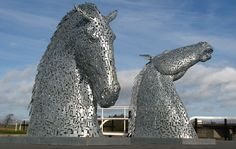Two Rearing Stallions' Heads by Andy Scott