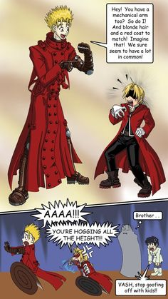 This is the best crossover wver! Haha this would totally happen. Who would win the fight though? Edward Elric - Fullmetal Alchemist Vash the Stampede - Trigun Manga Anime, Anime Art, Xr 300, Me Me Me Anime, Anime Guys, Alphonse Elric, Edward Elric, Vash, Kaichou Wa Maid Sama