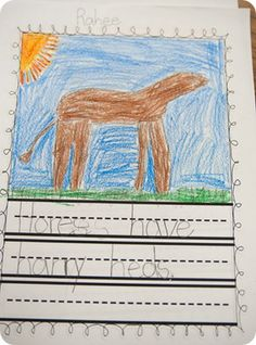 We talked a lot about alliteration last week and ended the week with a little alliterative writing after reading If You Were Alliteration.  We brainstormed a giant list of animals and then I had each of my firsties choose an animal to write about in an alliterative sentence.  The sentence could be silly or serious.  OF course, all of the writing I got back was definitely silly!  The kids had to write a sentence and then illustrate it. They loved this activity!!!