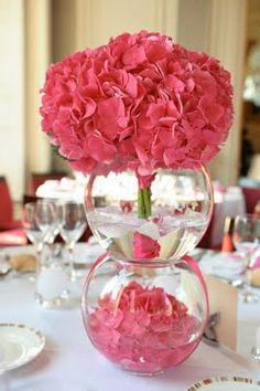 Hortensia Dream Day Wedding, Baptism Party, Decoration, Marie, Raspberry, Glass Vase, Tables, Weddings, Hydrangeas