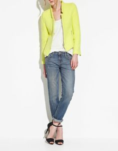 This neon yellow jacket is even prettier in person and so cute on!