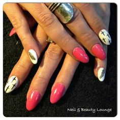 Full set of acrylics...'Italian Melon' ProGels...Orly Fx white... 'Deep Abyss' ProGel nail art with 'Trophy Cup'...done for a customer at work!!