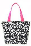 World Traveler Damask Print Travel Tote Bag, Black and White with Pink Trim