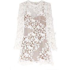 Self-Portrait 3D Floral Mini Dress (€435) ❤ liked on Polyvore featuring dresses, long-sleeve mini dress, white bodycon dress, bodycon dress, white long sleeve dress and floral bodycon dress