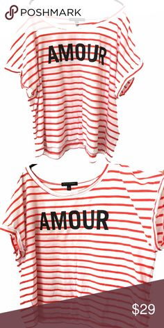"""Banana Republic Valentines Love Amour stripe top Cool, relaxed AMOUR Banana republic coral red and white stripe ultra-find cotton T-shirt size XL women's approximately 50"""" pit to pit around; 23"""" long Banana Republic Tops Tees - Short Sleeve"""