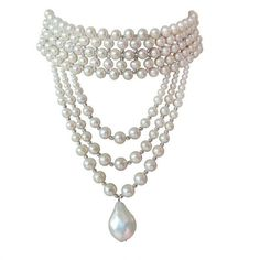 Preowned Woven Pearl Draped Choker With Sliding Clasp And Large... (21,520 MXN) ❤ liked on Polyvore featuring jewelry, necklaces, accessories, chokers, pearls, multiple, braided pearl necklace, long beaded necklace, beaded necklaces and choker necklace