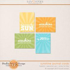 Free Sunshine Journal Cards from Suzy Q Scraps via Quality DigiScrap Freebies