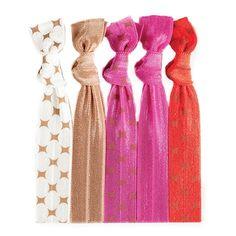 Tanya™ Hair Tie Set- Starbursts on Cream | Solid Tan | Starbursts on Raspberry | Solid Raspberry | Starbursts on Tomato
