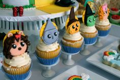 Cute cupcakes at a Wizard of Oz baby shower party! See more party ideas at CatchMyParty.com!