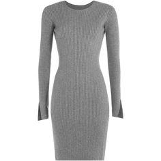 Alexander Wang Silk-Cashmere Ribbed Dress found on Polyvore featuring dresses, grey, silk dress, cut out dress, ribbed dress, silk slit dress and gray dress