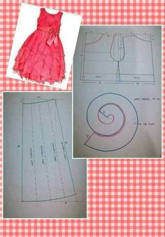 Best Ideas For Dress Diy Pattern Ruffles Frock Patterns, Kids Dress Patterns, Baby Patterns, Clothing Patterns, Sewing Clothes, Diy Clothes, Costura Fashion, Kids Frocks, Dress Tutorials