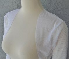 Wedding Bolero Shrug 3/4 Sleeves White Stretch Mesh with Silver Glitter Print