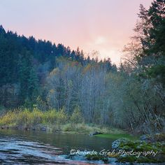 A Peaceful Place - Landscape photograph Nature Photography pink green yellow blue Wall Decor 12x12 unframed print via Etsy.
