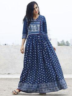 Indigo Ivory Hand Block Printed Angrakha Dress With Gathers - DS15F001
