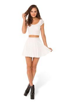 Burned Velvet White Cheerleader Skirt (WW $70AUD / US $65USD) by Black Milk Clothing