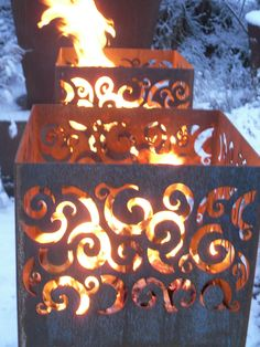 Adezz Corten Steel Garden Feature Fire Outdoor Heating Burner Ornate Burner