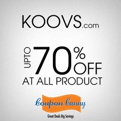 Up to 70% Off at All Product at #Koovs! Claim Now : http://www.couponcanny.in/koovs-coupons/