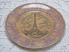French plate, rare souvenir plate for the opening of the Eiffel Tower, 1889