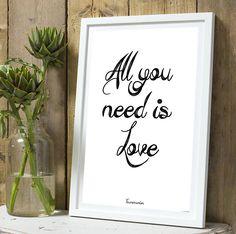 * Amour * Affiche All you need is love A4 sans cadre : Décorations murales par tauromarion