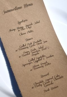Easy menu cards printed on craft card stock.
