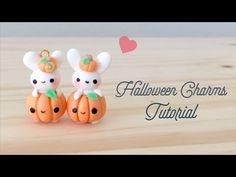 Kawaii Pumpkin Bunny polymer clay charm tutorial