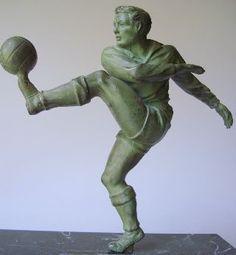 French Art Deco Sculpture Footballer Sport Soccer photo