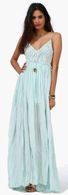 Soft Mint Boho Maxi Dress