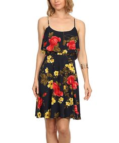 Look at this Navy & Red Floral Sleeveless A-Line Dress on #zulily today!
