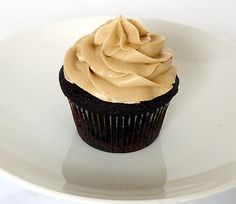 Dark chocolate cupcake with peanut butter frosting.  Oh My...Yes Please!