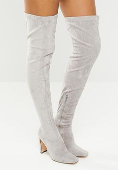 Over the knee boot. Public Desire, Over The Knee Boots, Block Heels, Grey, How To Wear, Fashion, Gray, Moda, Fashion Styles