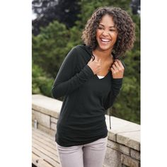 District Threads® junior ladies slub v-neck hoodie