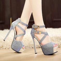 Women-Stilettos-Open-Toe-Platform-Sandals-Buckle-Ankle-Strap-High-Heels-Shoes #shoeshighheelswedding