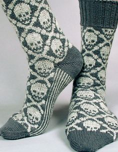 Ravelry: Hot Crossbone Socks pattern by Camille Chang - colourwork sock obsession (sock crafts ravelry) Fair Isle Knitting, Knitting Socks, Hand Knitting, Knitted Socks Free Pattern, Crochet Slippers, Knit Crochet, Ravelry, Cozy Socks, How To Purl Knit