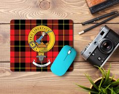 Rubber mousemat with Wallace clan crest and tartan - only from ScotClans