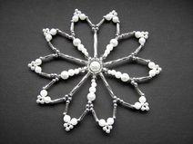 Perlenstern weiß / silber  10 cm