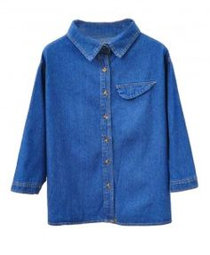 Retro Denim Blouse with Long Batwing Sleeves