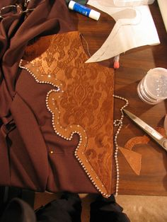 Lasting Impressions show shirt - Initial work in progress - bronzed leather yoke, leather trim and more!