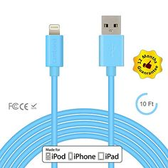 iPhone 6 Charger, Apple Certified Cambond® 10 ft Long Certified iPhone Cable - Durable Lightning Cord for iPhone 6s / 6s Plus, iPhone 6 / 6 Plus, iPhone 5s 5c 5, iPad Air, iPad Mini, iPad Pro, iPad 4th (Blue) Cambond http://www.amazon.com/dp/B00VWK8VJ4/ref=cm_sw_r_pi_dp_2V1Iwb1NAE34M
