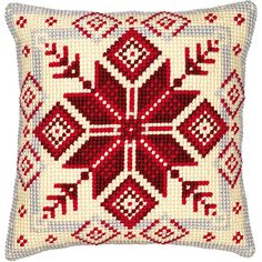 """""""Nordic Snowflake"""" counted cross-stitch cushion kit by Vervaco ( Modern Cross Stitch, Cross Stitch Kits, Cross Stitch Designs, Cross Stitch Patterns, Needlepoint Pillows, Needlepoint Kits, Cross Stitch Cushion, Cross Stitch Numbers, Tapestry Kits"""