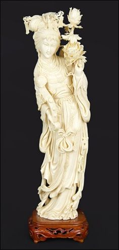 A Chinese Carved Ivory Beauty.