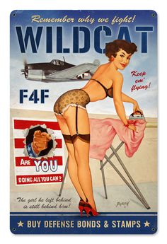 A great looking vintage pin up with a sexy woman and sexy airplane. From the Baron Von Lind collection. This vintage sign looks great in the home office or man cave and makes a great gift for any occa