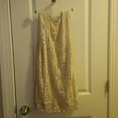 Blouse Beige lace top, only worn once. Good condition Dress Barn Tops Tank Tops
