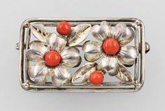 Brooch with corals, silver 835, German circa 1930s (Teka/Theodor Klotz)